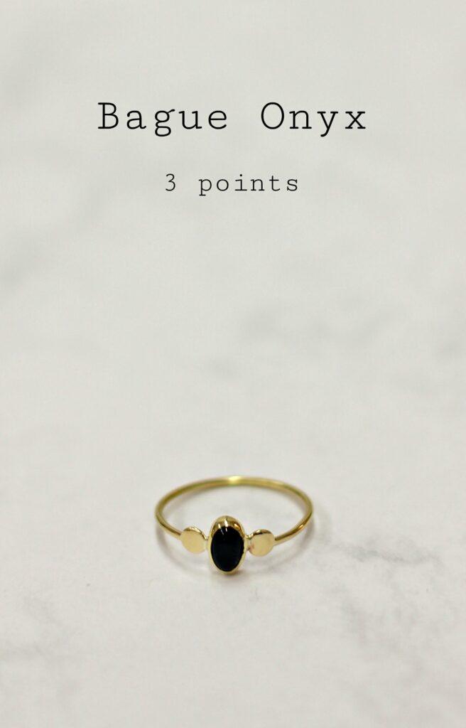"""Bague sertie Onyx """"3 ptits points"""" sur www.apprendre-la-bijouterie.com"""